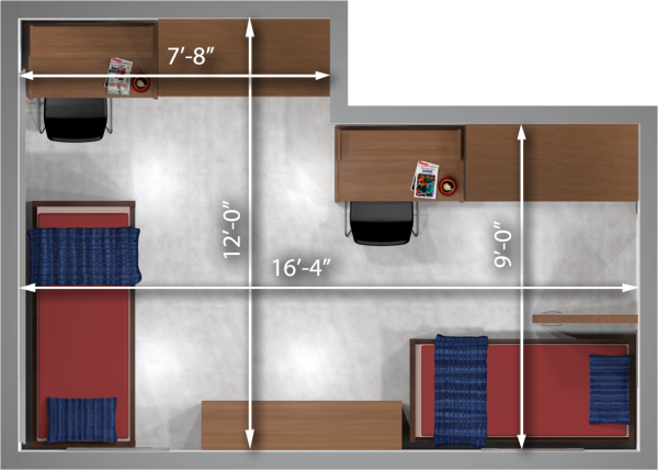 A 2d layout view with the dimensions of a three-window, double room in Sellery.