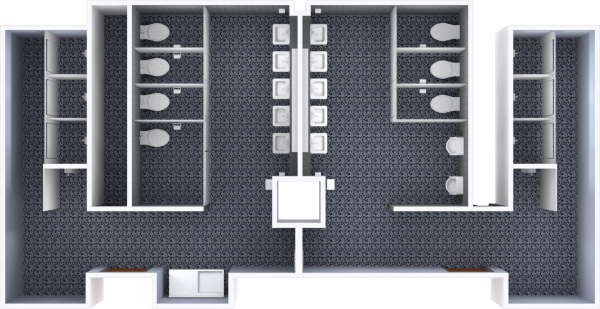 A 2d layout view of a bathroom in Sellery.