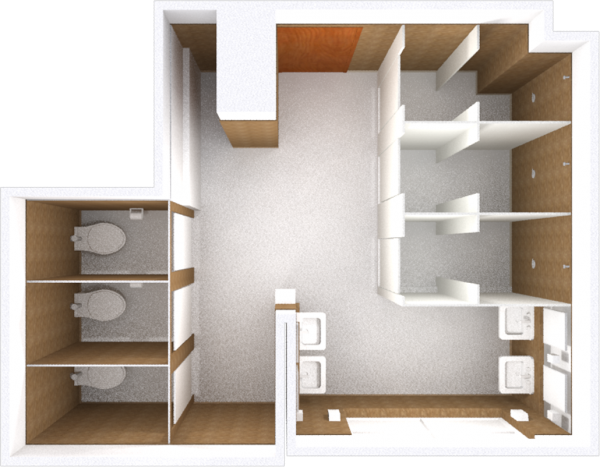 A 2d layout view of a bathroom in Slichter.