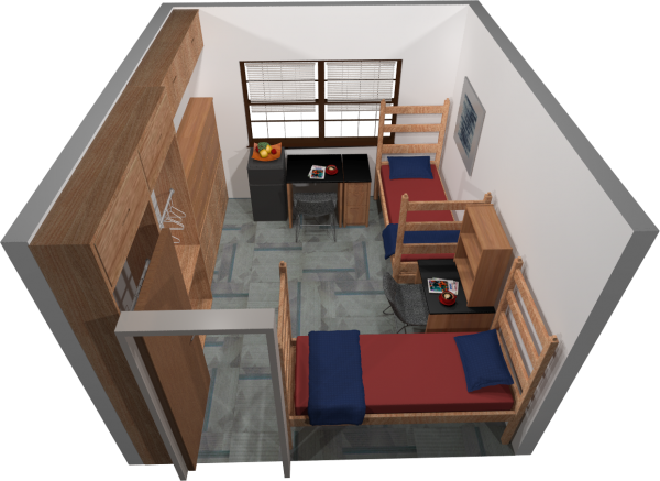 A 3d layout view of a double room in Slichter.