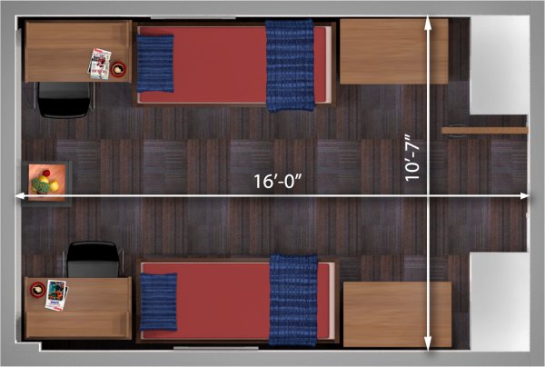 A 2d layout view with the dimensions of a double room in Sullivan.