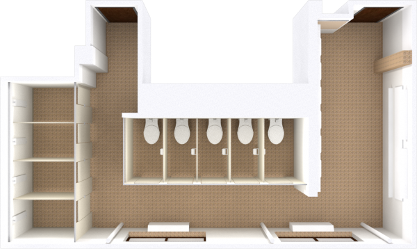 A 2d layout view of a bathroom in Waters.