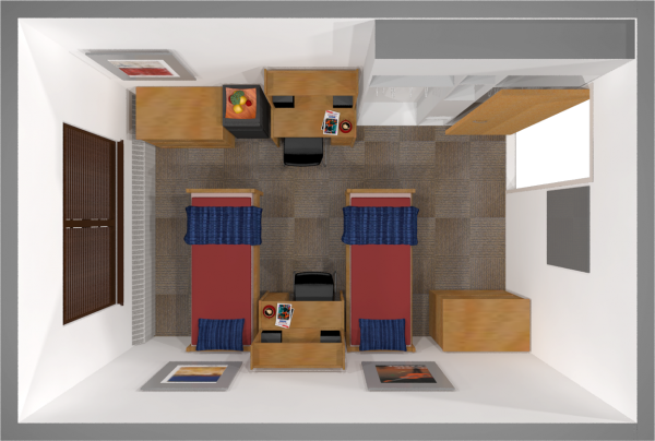 A 2d layout view of a double room in Waters.