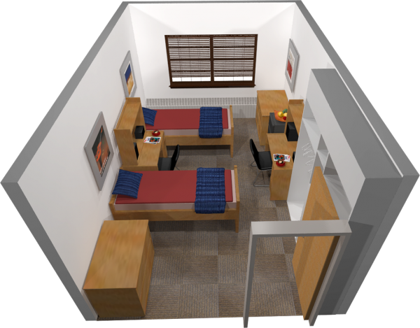 A 3d layout view of a double room in Waters.