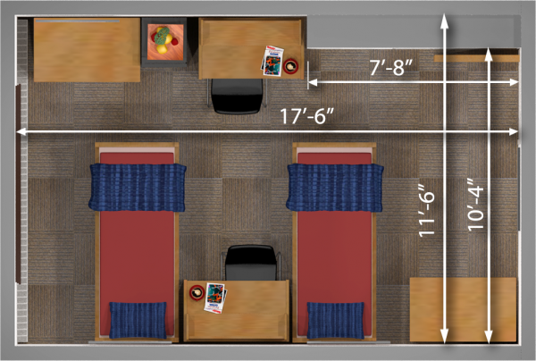 A 2d layout view with the dimensions of a double room in Waters.