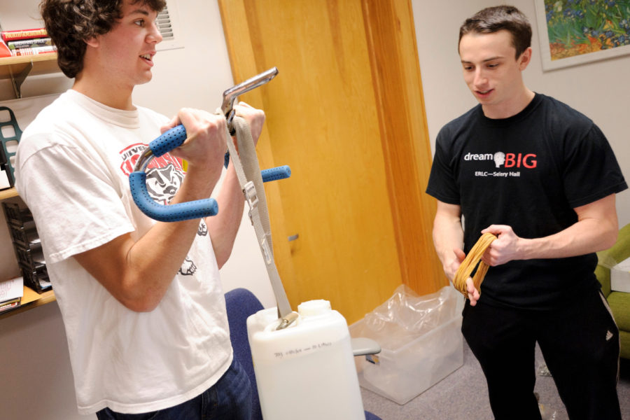 Students compete in the 100 Hour Challenge to create a new idea from discarded materials in Sellery Residence Hall
