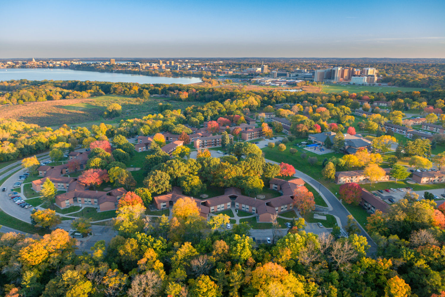 An aerial view of the Eagle Heights Neighborhood in University Apartments at sunset in fall
