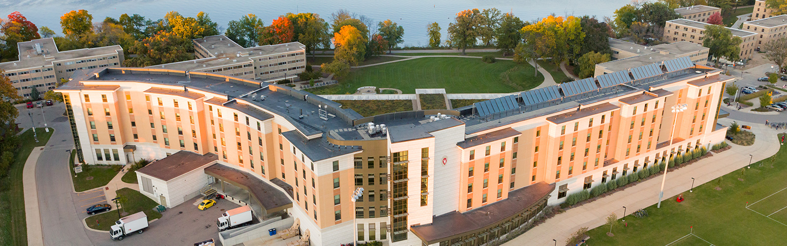 Aerial photo of Dejope Residence Hall