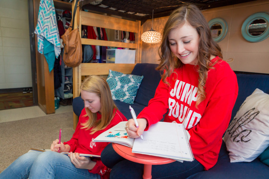 Two students study in their Bradley Residence Hall room