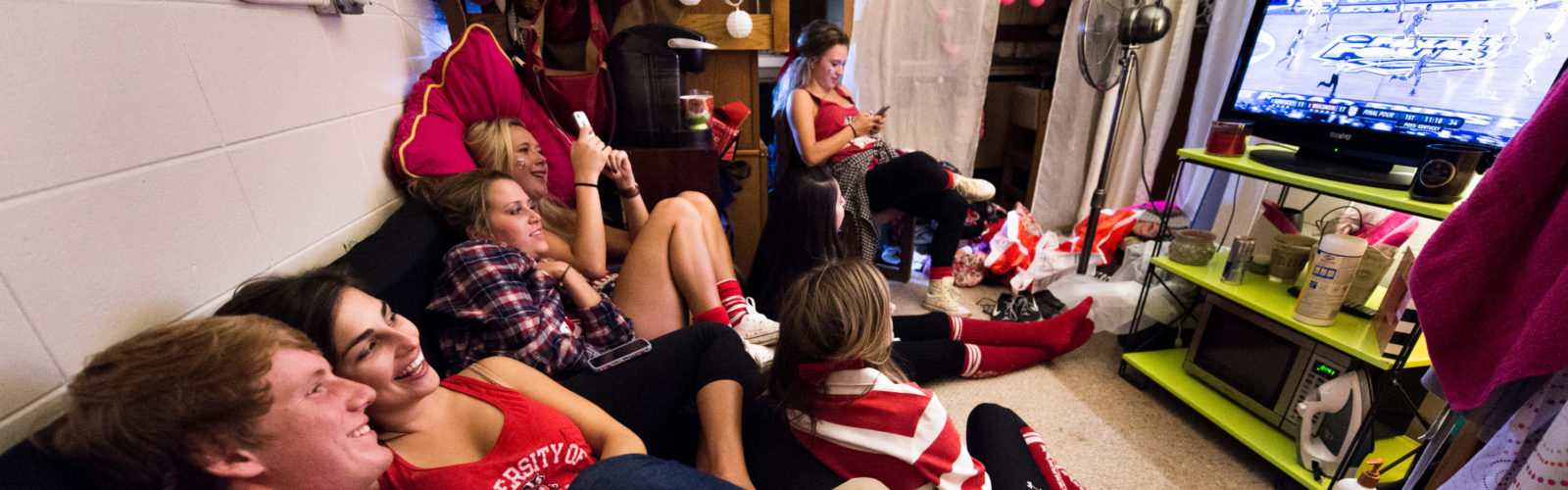 Residents watch the Wisconsin men's basketball game in Sellery Residence Hall