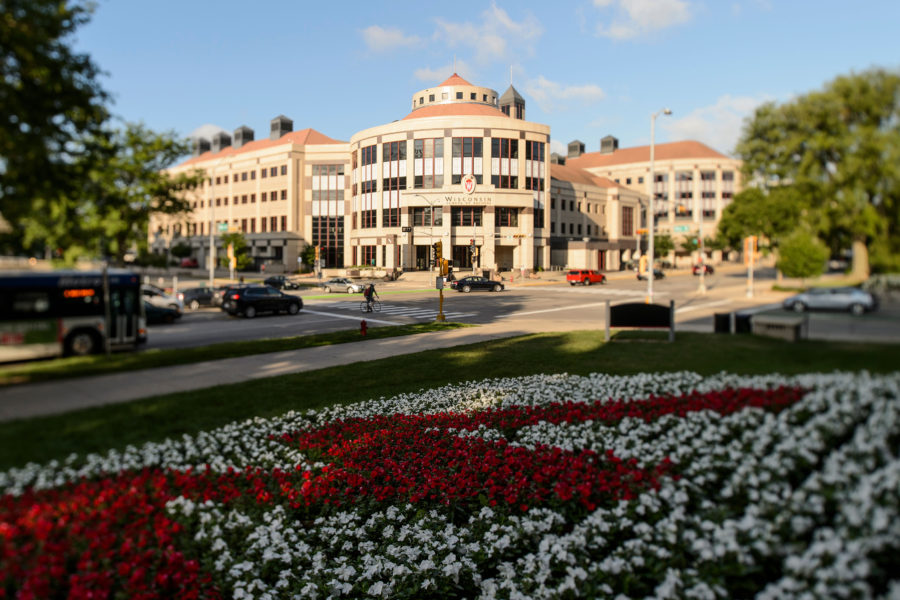 The exterior of Grainger Hall, home of the Wisconsin School of Business in shown at sunrise