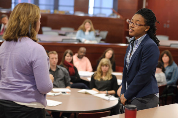 two students put on a presentation in the Wisconsin School of Business