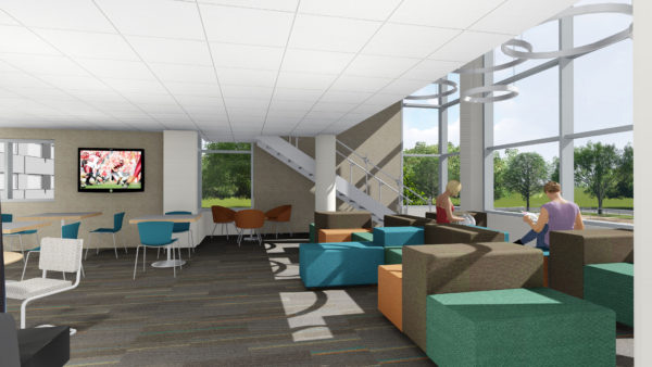 Rendering of a Witte lounge from the first floor