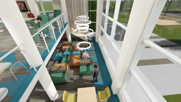 Rendering of a Witte lounge from the second floor