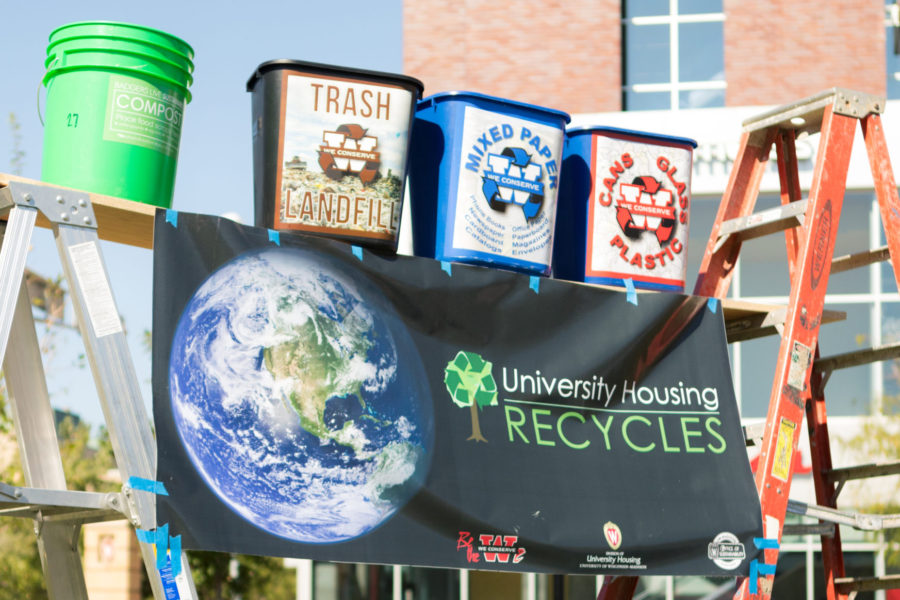 Display featuring different methods of waste reduction at sustain-a-bash 2017.