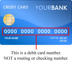 Debit card number illustration
