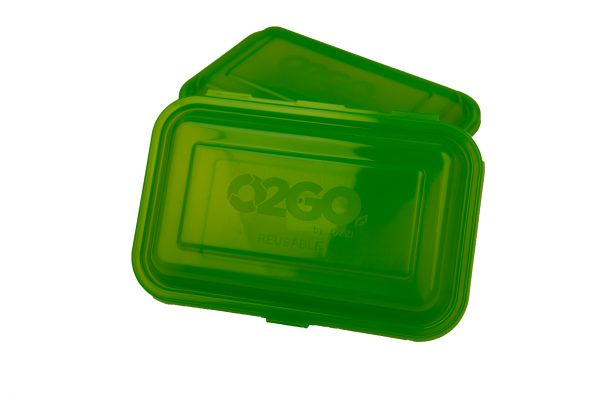 Photo of a reusable to-go food container from the Ticket to Takeout program