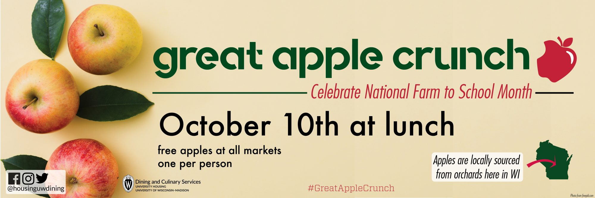 Great Apple Crunch, October 10 at lunch. Free apples at all markets. One person. #GreatAppleCrunch Apples are locally sourced from orchards here in WI.