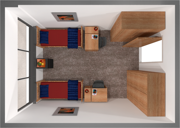A 2d layout view of a 3-window 11th-floor double room in Witte.