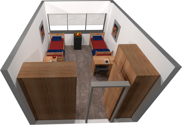 A 2d layout view of a 3-window 11th floor double room in Witte.