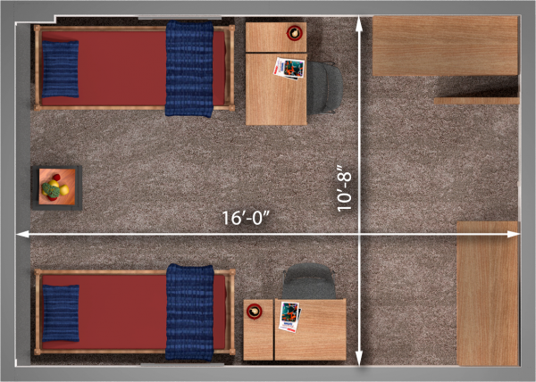 A 2d layout view with the dimensions of a 3-window 11th floor double room in Witte.