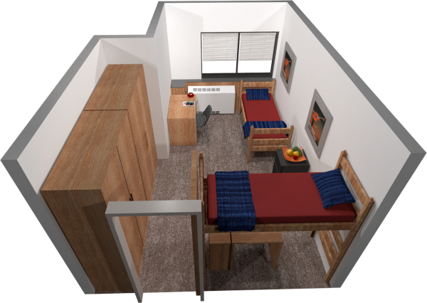 A 3d layout view of a two-window, double room in Witte.