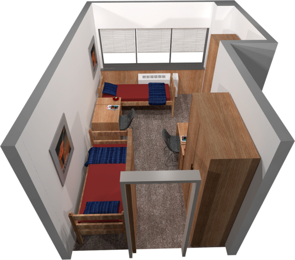 A 3d layout view of a three-window, double room in Witte.