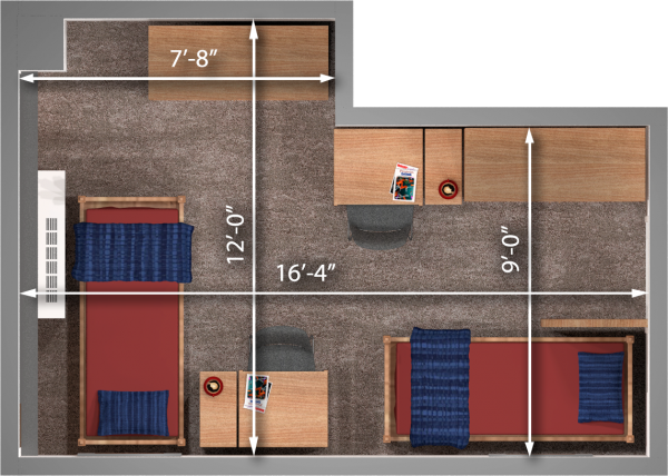 A 2d layout view with the dimensions of a three-window, double room in Witte.
