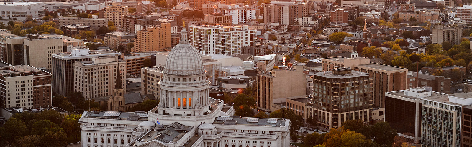 Wisconsin-Madison campus is pictured in a sunset aerial view during autumn