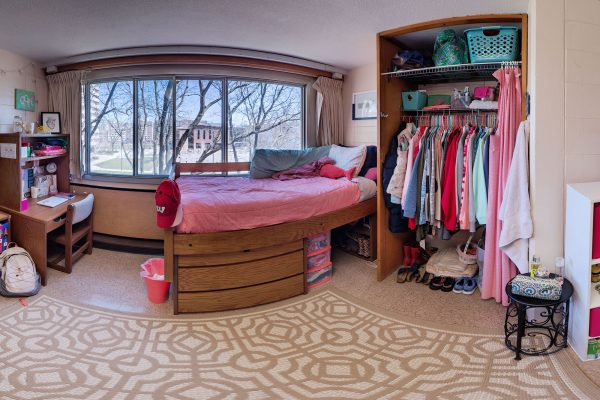A double room in Sellery Residence Hall in 2016