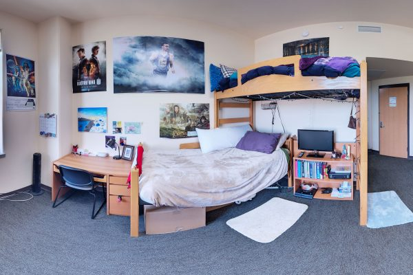 A double room in Dejope Residence Hall in 2016