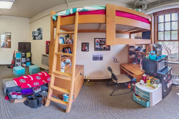 A double room in Waters Residence Hall in 2016
