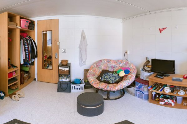 A single room in Davis Residence Hall in 2016