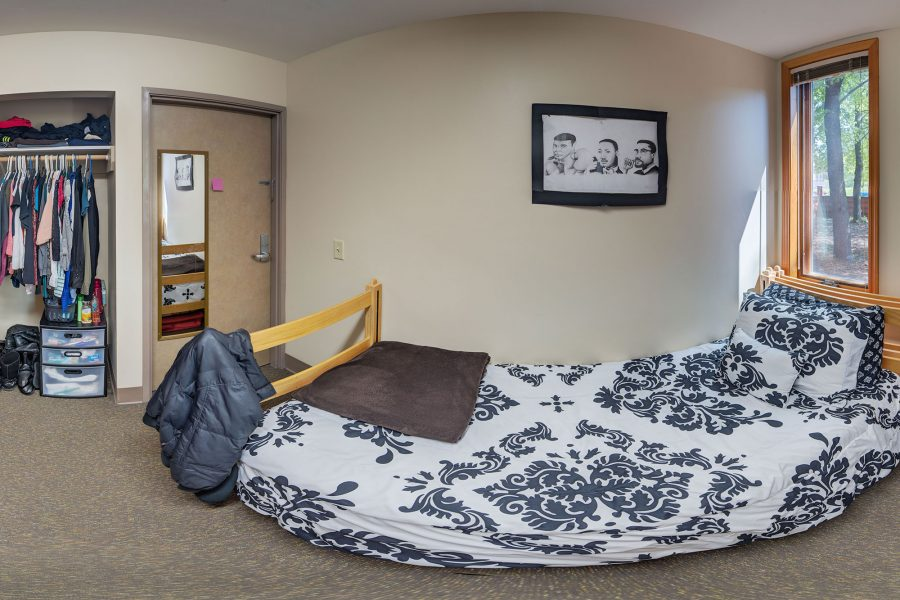 A single room in Merit Residence Hall in 2016