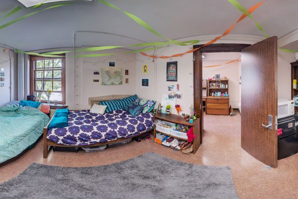A double room in Adams Residence Hall in 2016