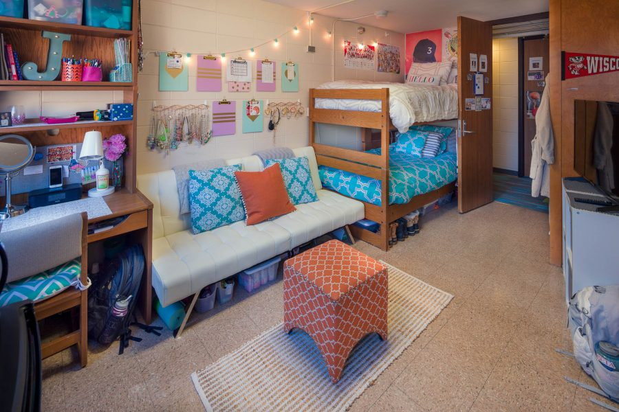 A double room in Sellery Residence Hall in 2017