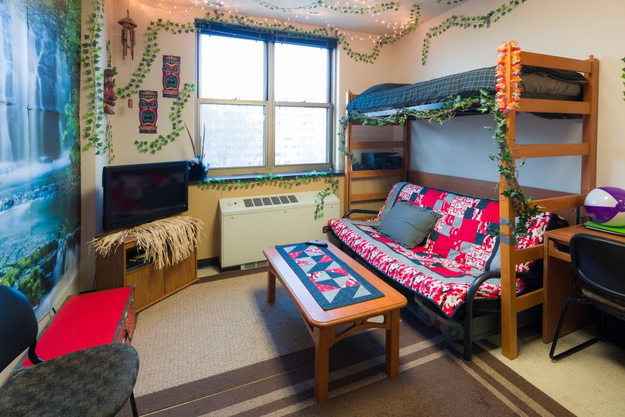 A double room in Ogg Residence Hall in 2017