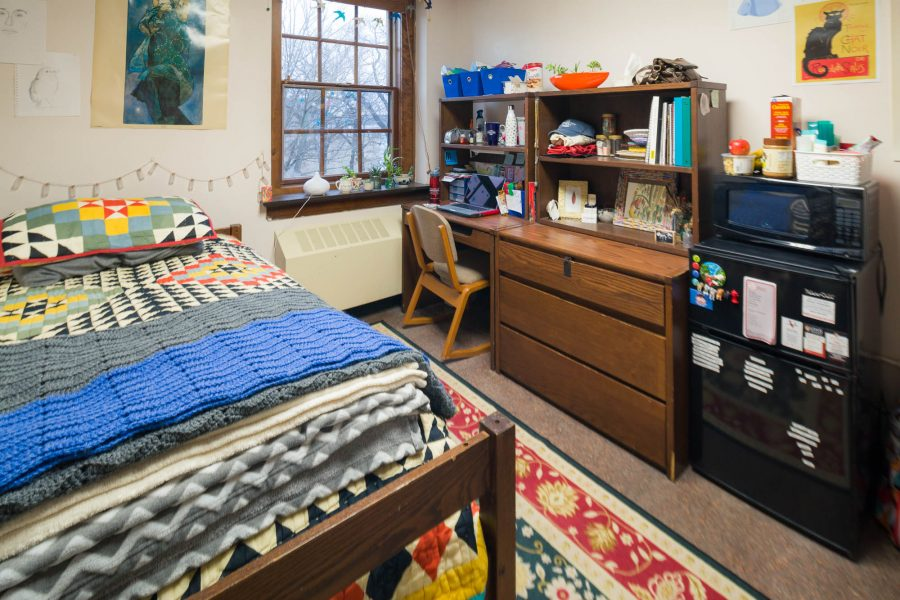 A single room in Tripp Residence Hall in 2017