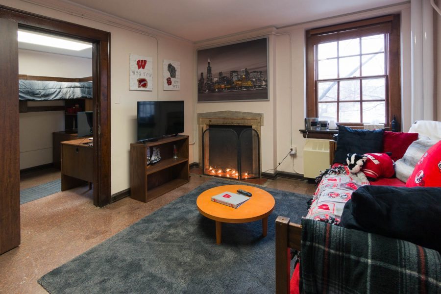 A double room in Adams Residence Hall in 2017