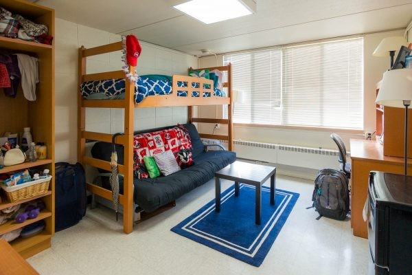 A single room in Davis Residence Hall in 2017