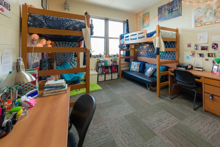 A double room in Leopold Residence Hall in 2017