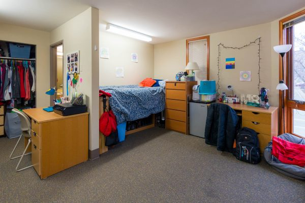 A double room in Merit Residence Hall in 2017