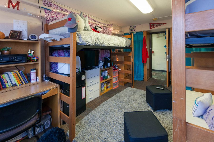 A double room in Sullivan Residence Hall in 2017