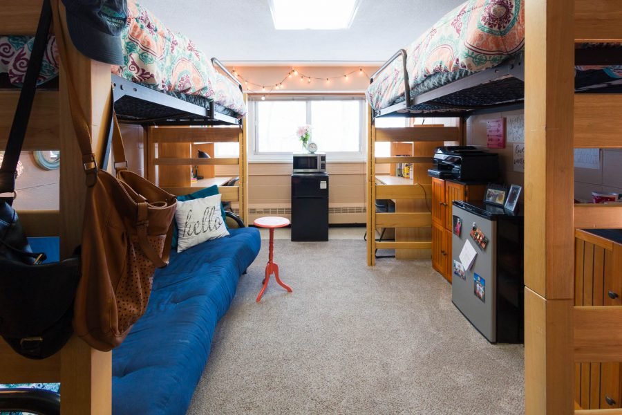 A double room in Bradley Residence Hall in 2017