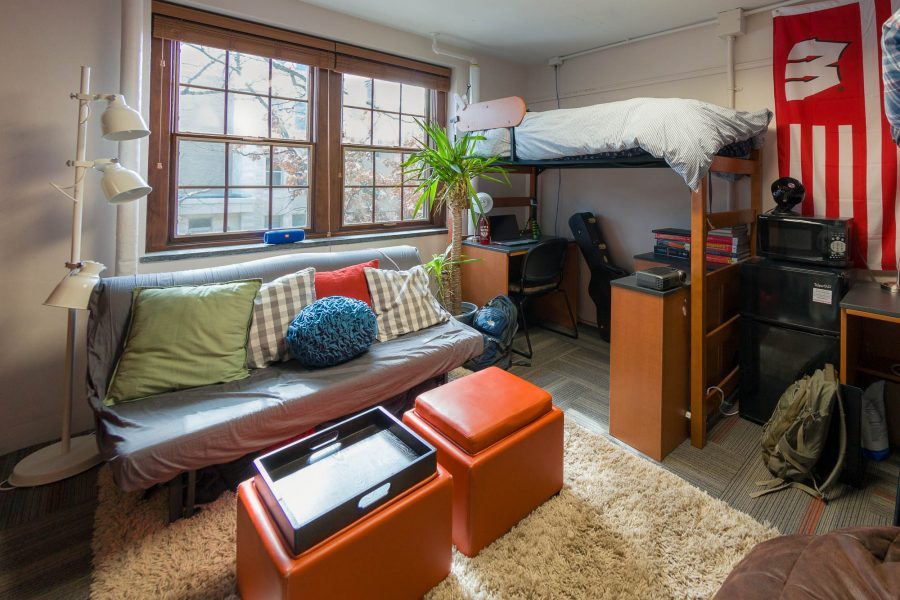A double room in Kronshage Residence Hall in 2017