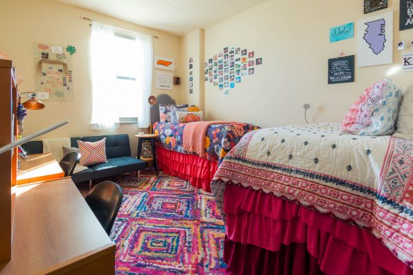 A double room in Dejope Residence Hall in 2017