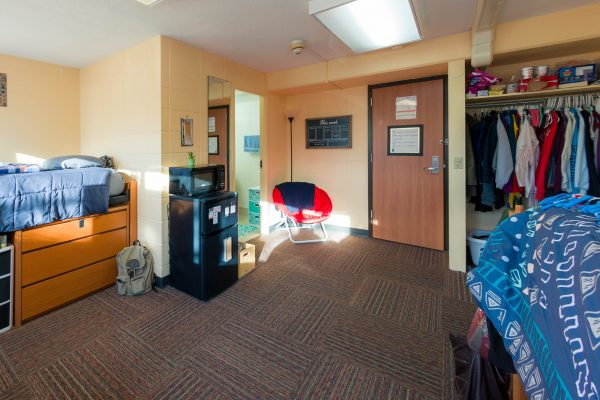 A double room in Phillips Residence Hall in 2017