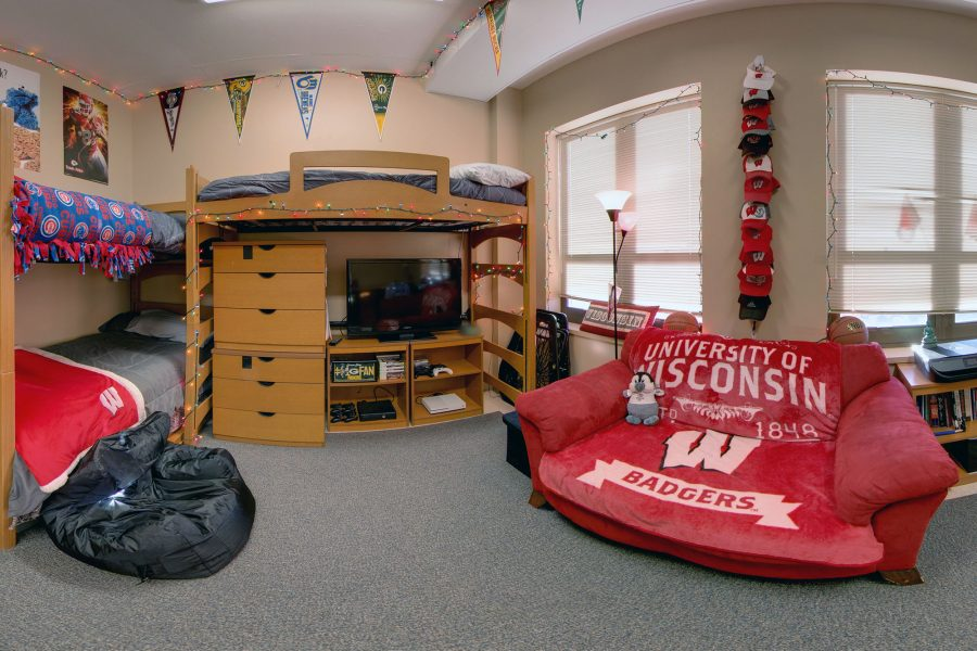 A triple room in Smith Residence Hall in 2017