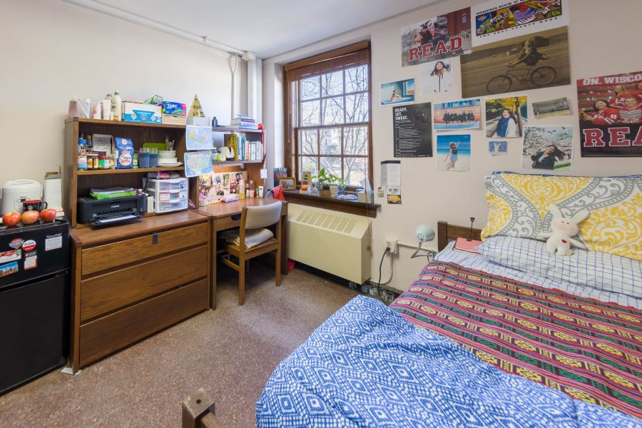 A single room in Adams Residence Hall in 2018