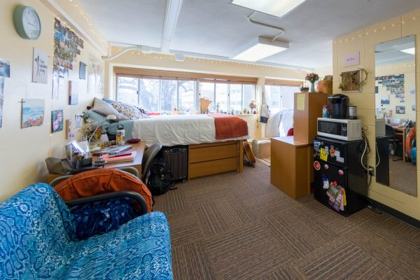 A double room in Phillips Residence Hall in 2018